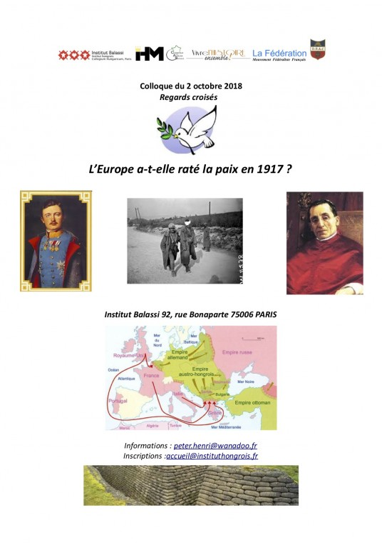 Colloque : <br>« Regards croisés : l'Europe a-t-elle raté la paix en 1917 ? »